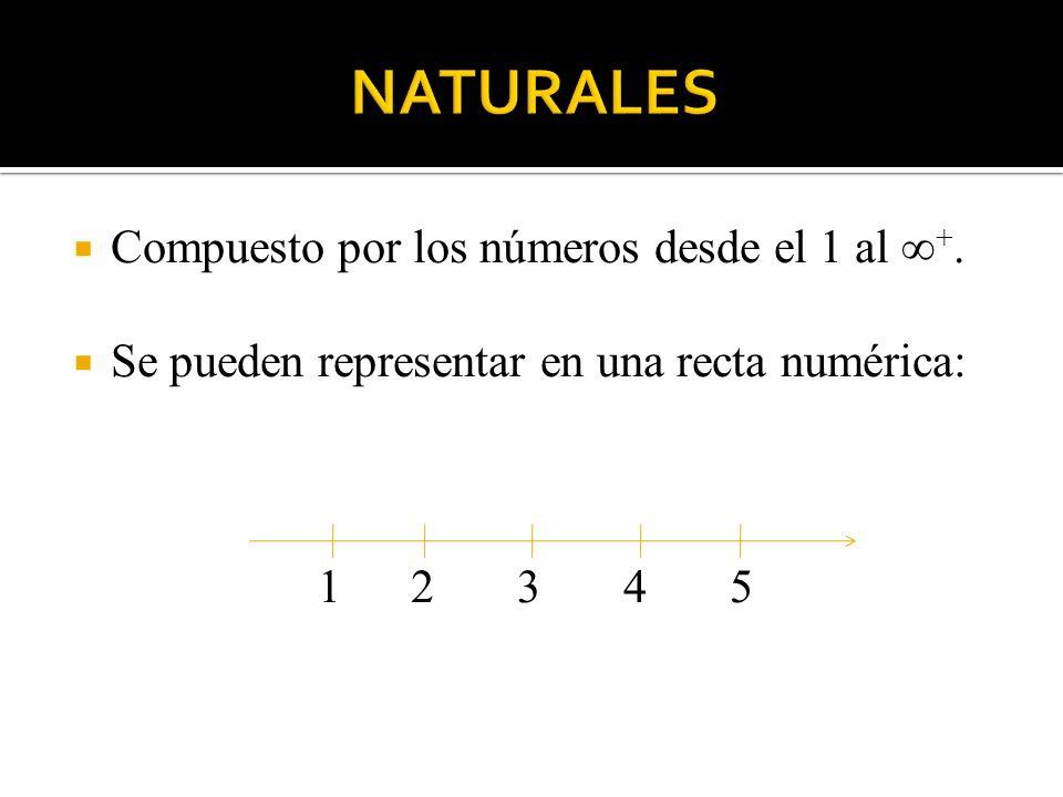 NATURALES Compuesto por los números desde el 1 al ∞+.