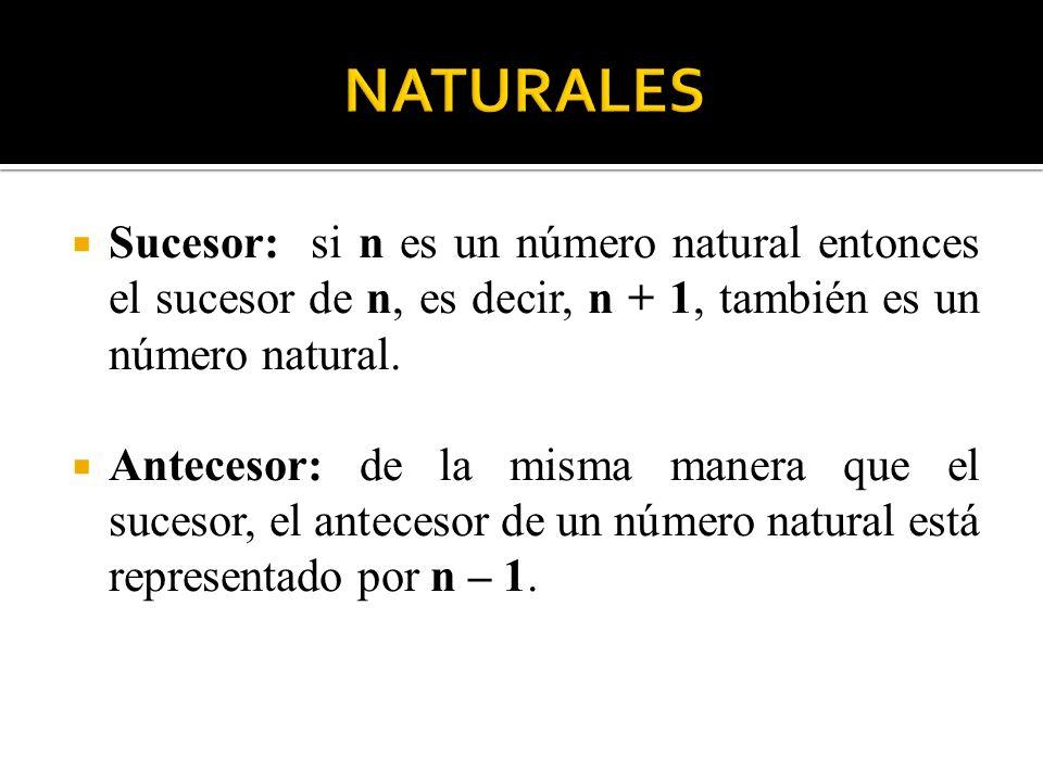 NATURALES Sucesor: si n es un número natural entonces el sucesor de n, es decir, n + 1, también es un número natural.