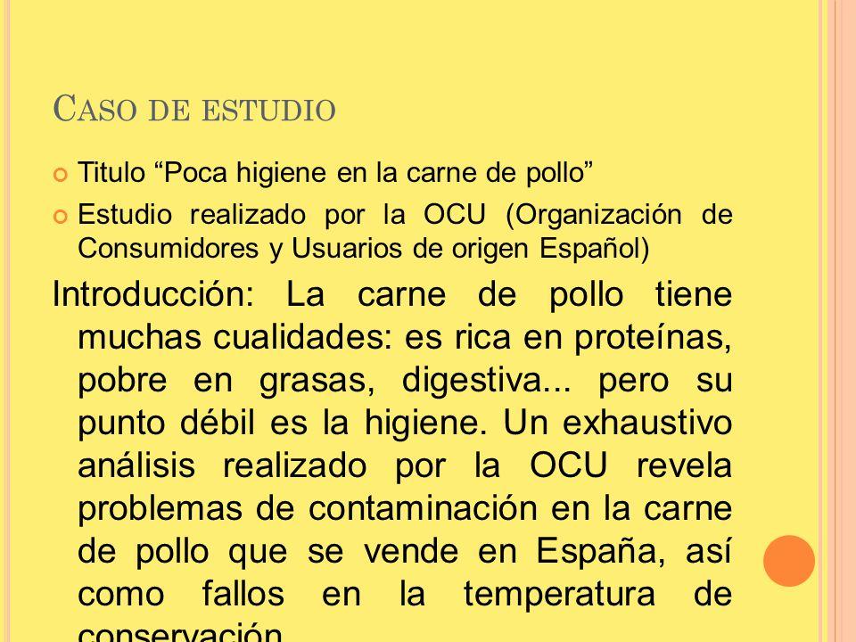 Caso de estudio Titulo Poca higiene en la carne de pollo Estudio realizado por la OCU (Organización de Consumidores y Usuarios de origen Español)