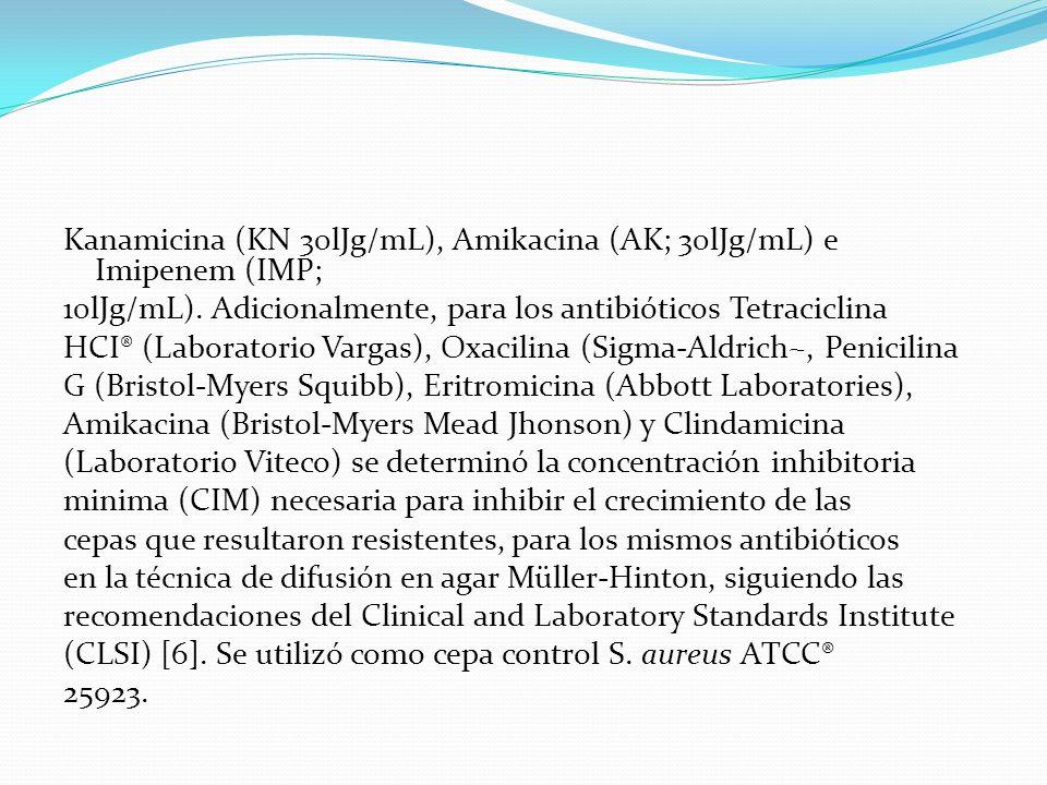 Kanamicina (KN 30lJg/mL), Amikacina (AK; 30lJg/mL) e Imipenem (IMP; 10lJg/mL).