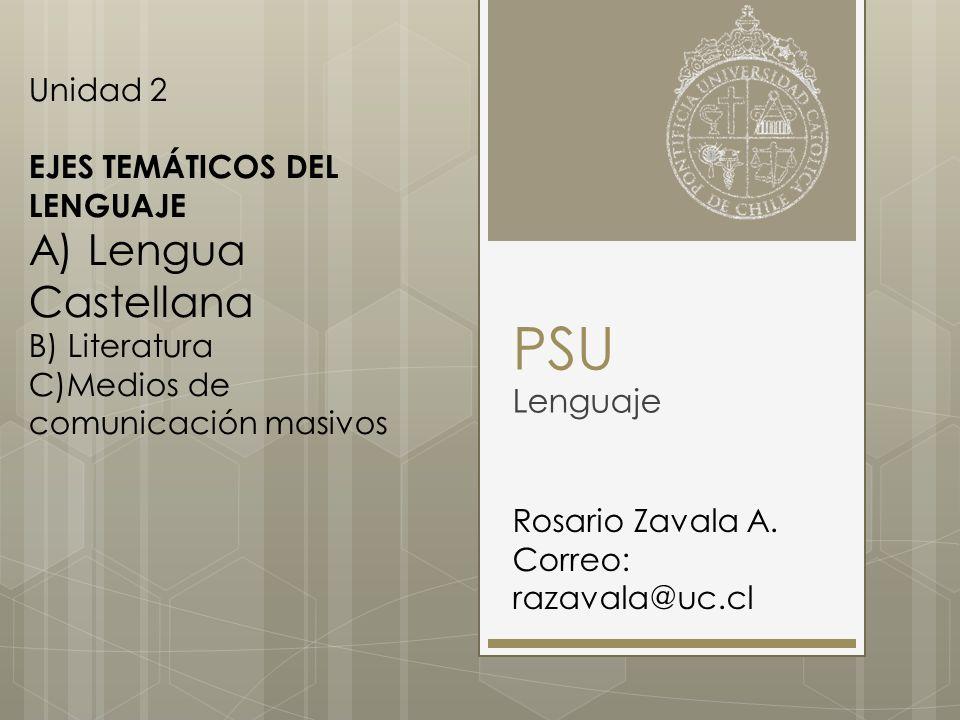 PSU A) Lengua Castellana Lenguaje Unidad 2 EJES TEMÁTICOS DEL LENGUAJE