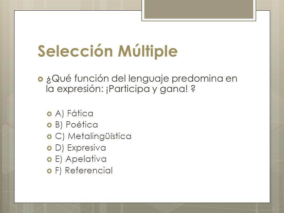 Selección Múltiple ¿Qué función del lenguaje predomina en la expresión: ¡Participa y gana! A) Fática.