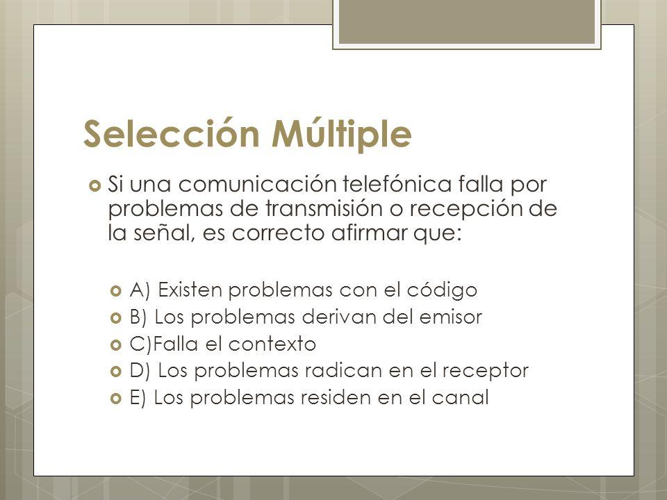 Selección Múltiple Si una comunicación telefónica falla por problemas de transmisión o recepción de la señal, es correcto afirmar que: