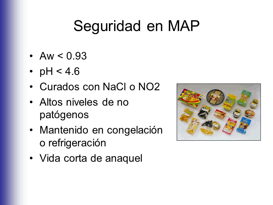 Seguridad en MAP Aw < 0.93 pH < 4.6 Curados con NaCl o NO2