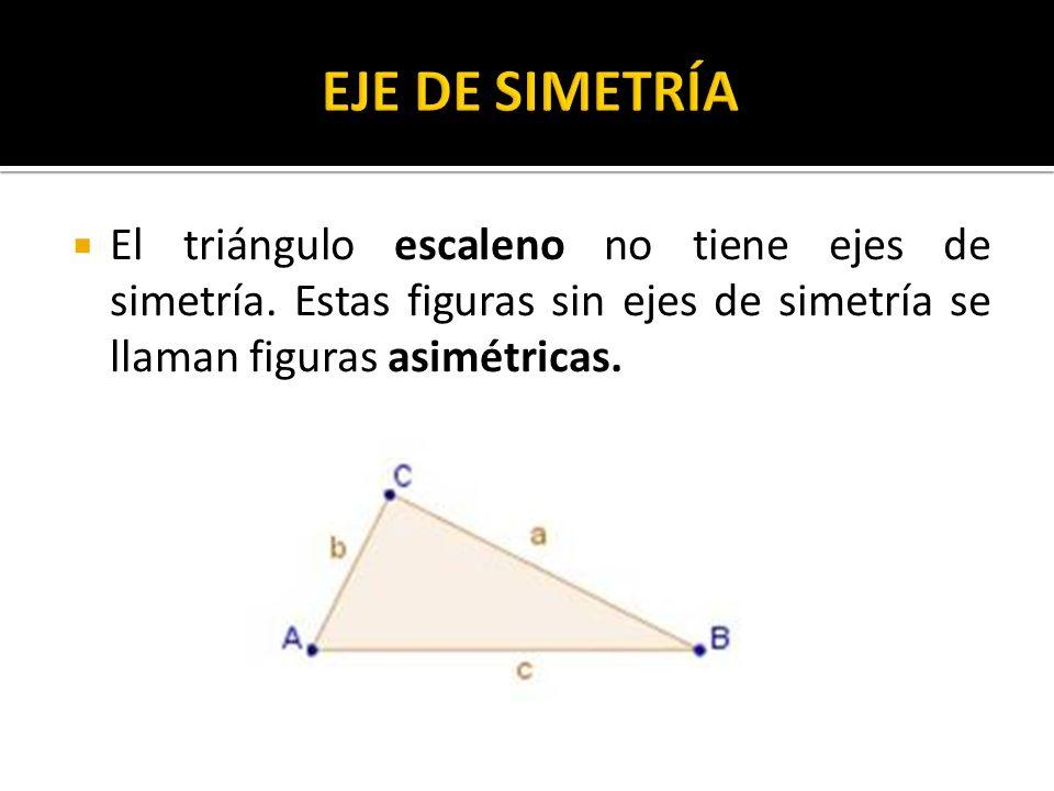 EJE DE SIMETRÍA El triángulo escaleno no tiene ejes de simetría.