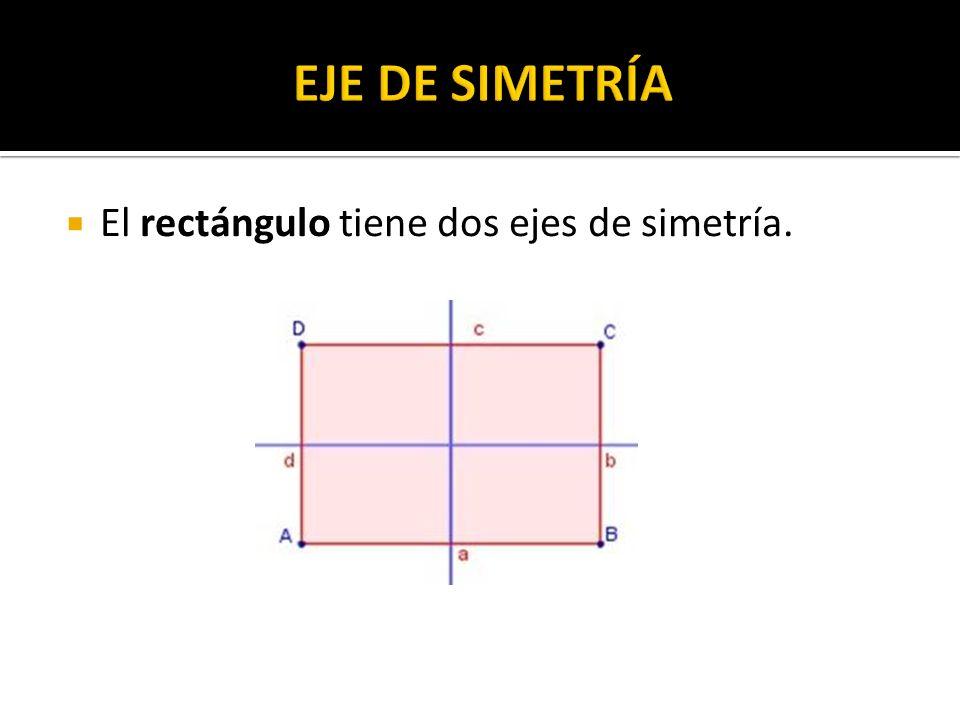 EJE DE SIMETRÍA El rectángulo tiene dos ejes de simetría.