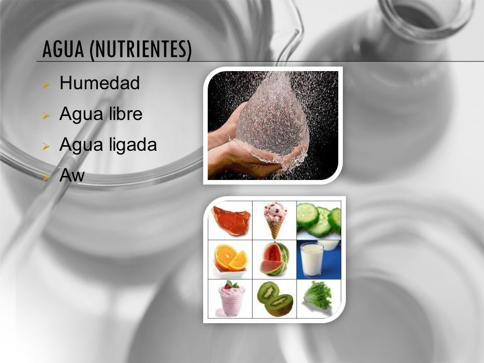 Agua (nutrientes) Humedad Agua libre Agua ligada Aw