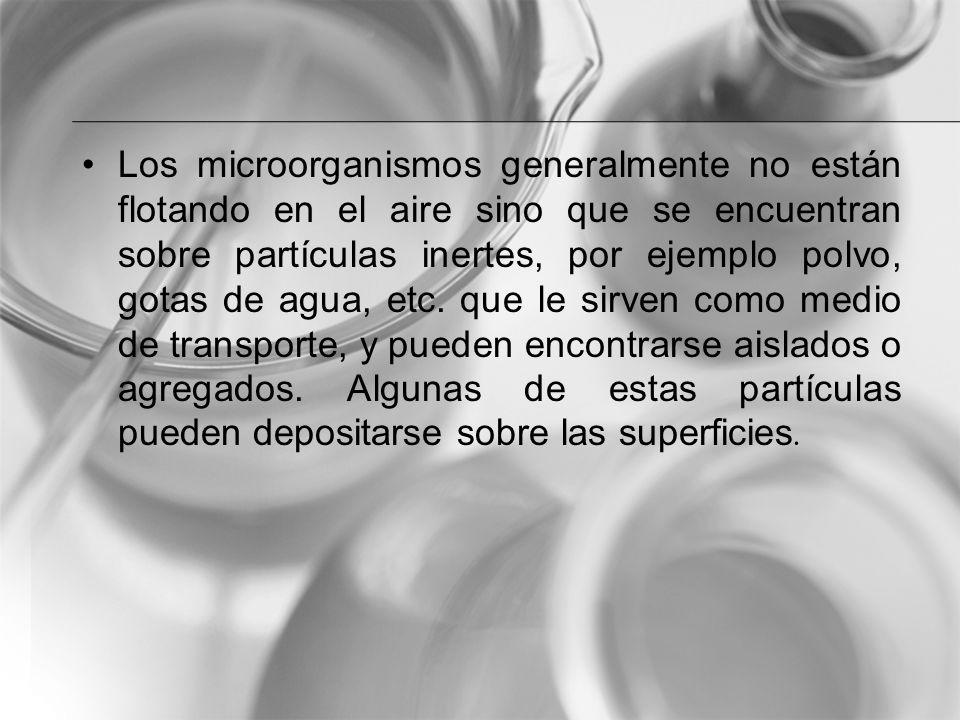 Los microorganismos generalmente no están flotando en el aire sino que se encuentran sobre partículas inertes, por ejemplo polvo, gotas de agua, etc.