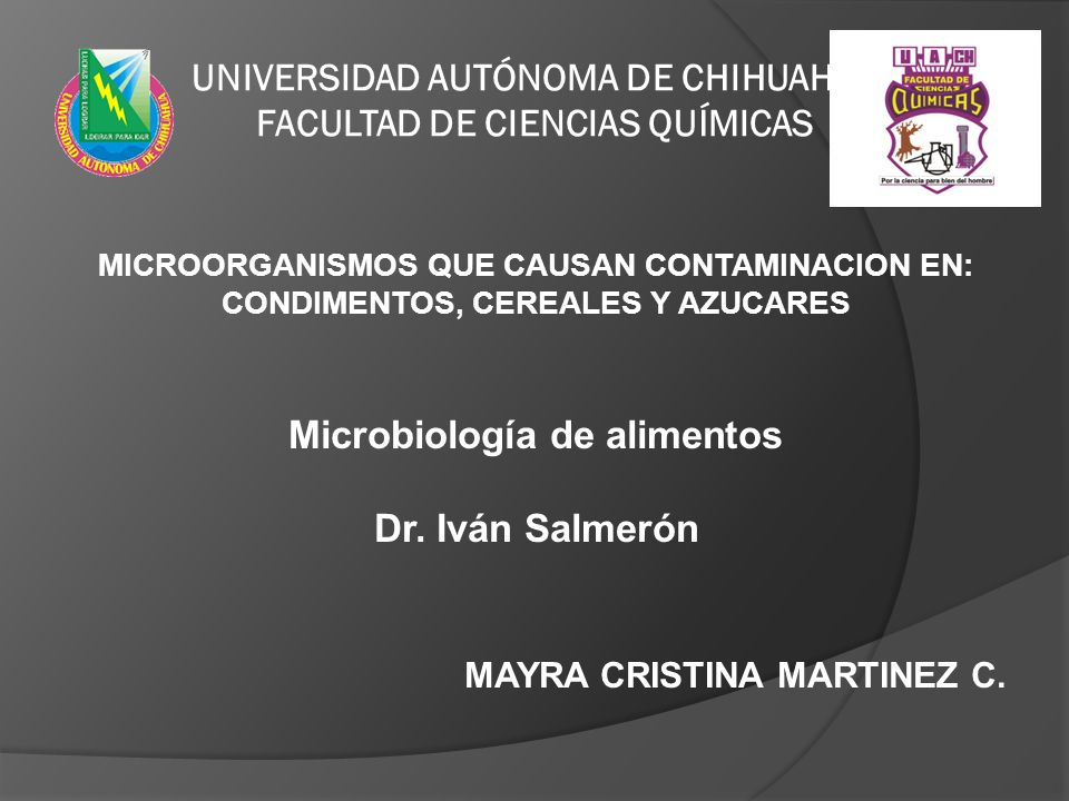 Microbiología de alimentos Dr. Iván Salmerón