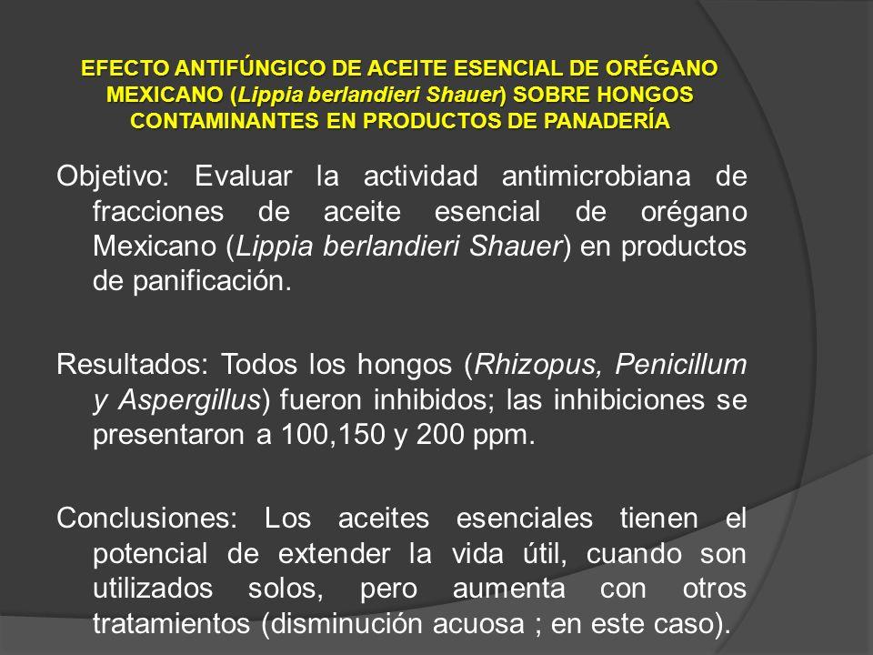 EFECTO ANTIFÚNGICO DE ACEITE ESENCIAL DE ORÉGANO MEXICANO (Lippia berlandieri Shauer) SOBRE HONGOS CONTAMINANTES EN PRODUCTOS DE PANADERÍA
