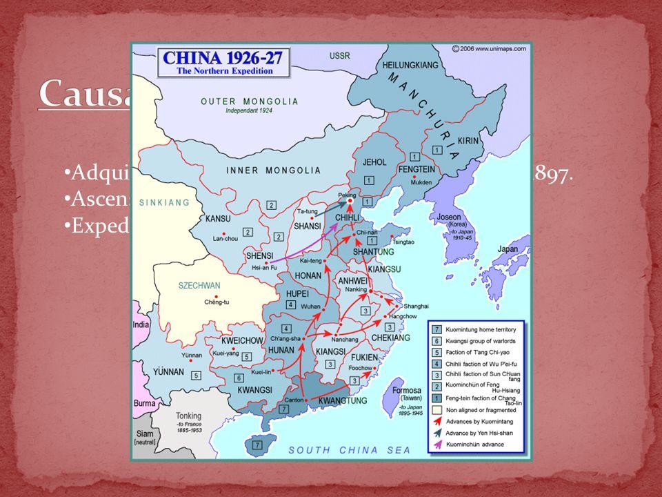 Causas corto plazo Adquisición de Shantung por parte de Japón en 1897.