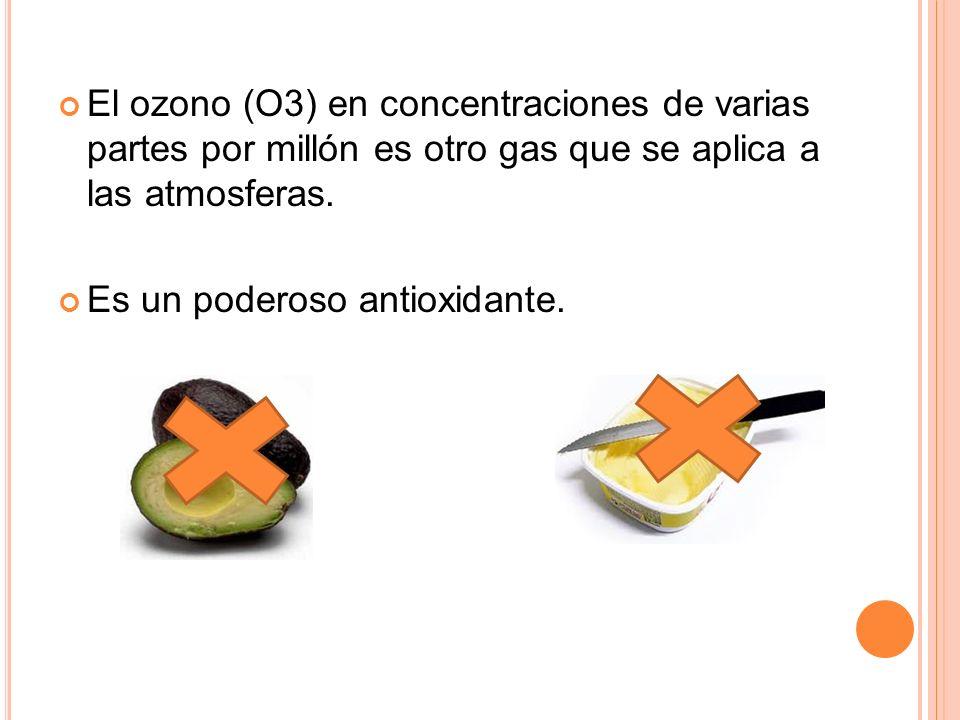 El ozono (O3) en concentraciones de varias partes por millón es otro gas que se aplica a las atmosferas.