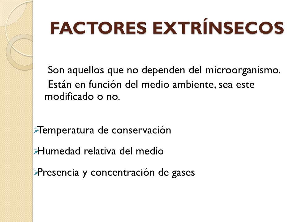 FACTORES EXTRÍNSECOS Son aquellos que no dependen del microorganismo.