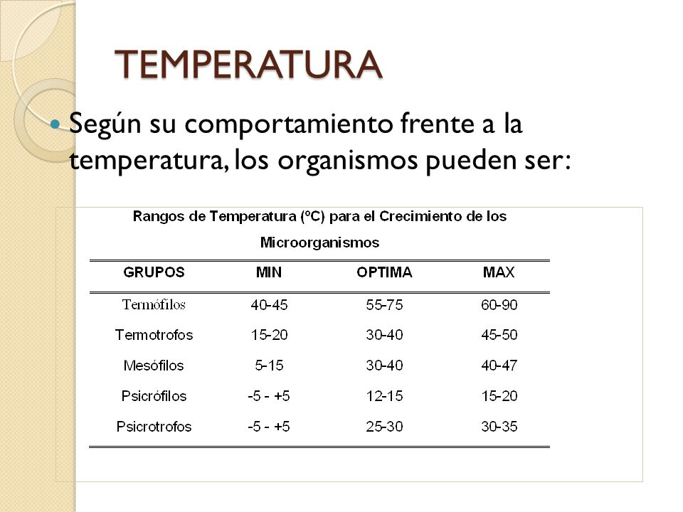 TEMPERATURA Según su comportamiento frente a la temperatura, los organismos pueden ser: