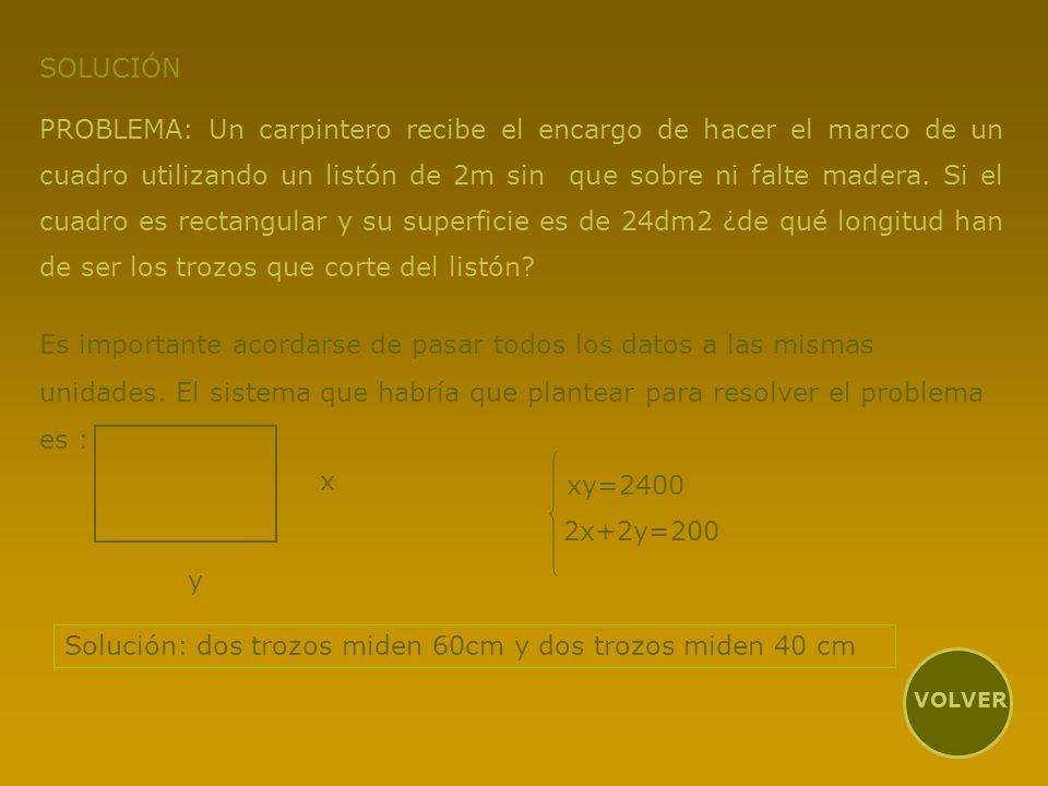 Solución: dos trozos miden 60cm y dos trozos miden 40 cm