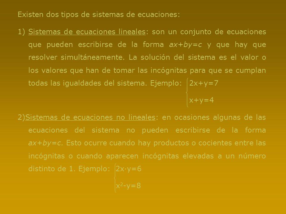 Existen dos tipos de sistemas de ecuaciones: