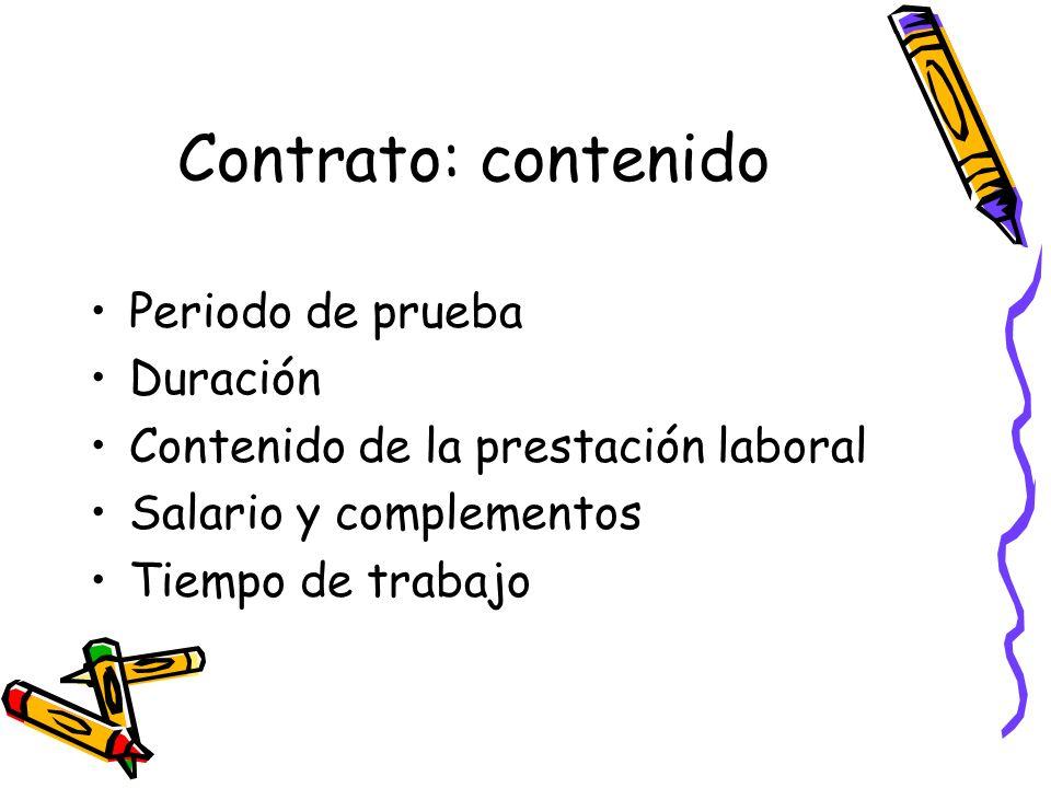 Contrato: contenido Periodo de prueba Duración
