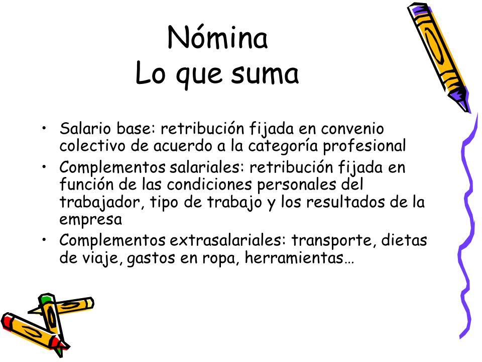 Nómina Lo que suma Salario base: retribución fijada en convenio colectivo de acuerdo a la categoría profesional.