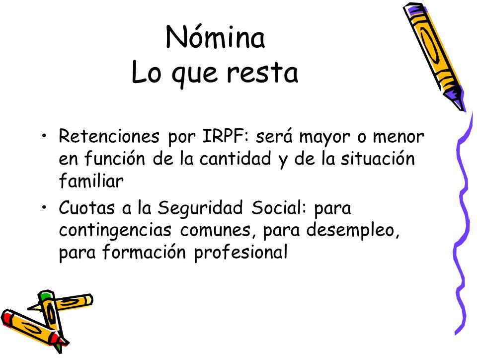 Nómina Lo que resta Retenciones por IRPF: será mayor o menor en función de la cantidad y de la situación familiar.