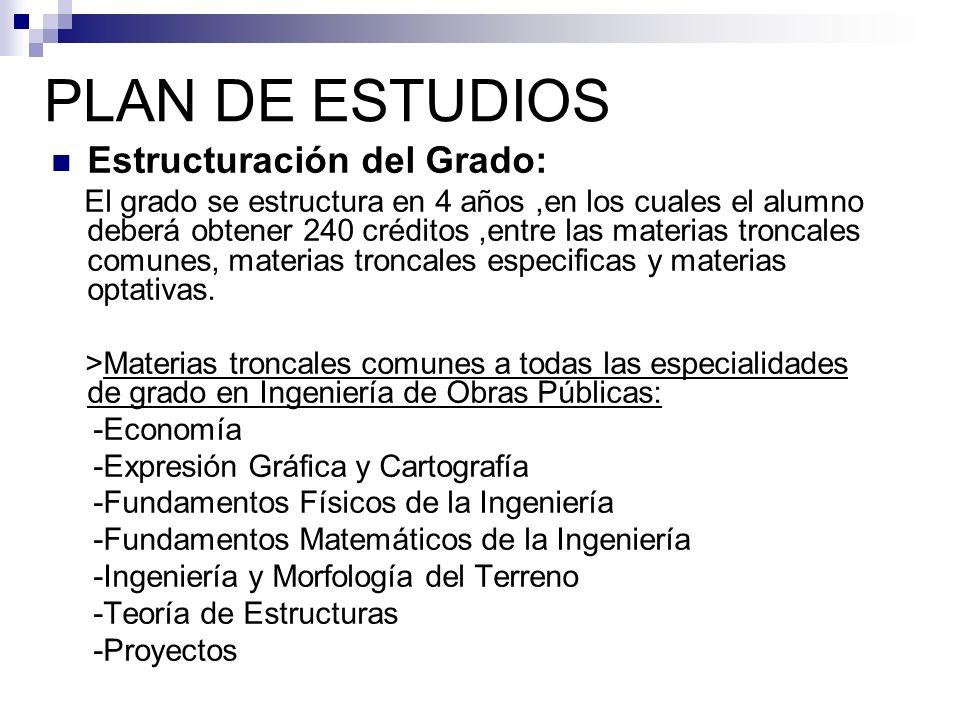 PLAN DE ESTUDIOS Estructuración del Grado: