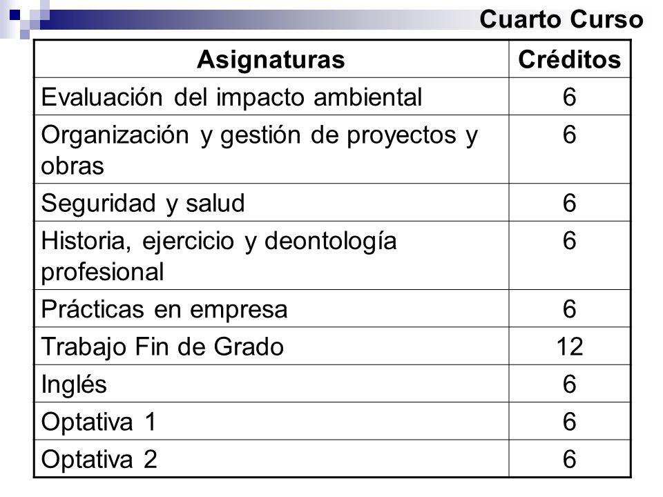 Cuarto Curso Asignaturas. Créditos. Evaluación del impacto ambiental. 6. Organización y gestión de proyectos y obras.