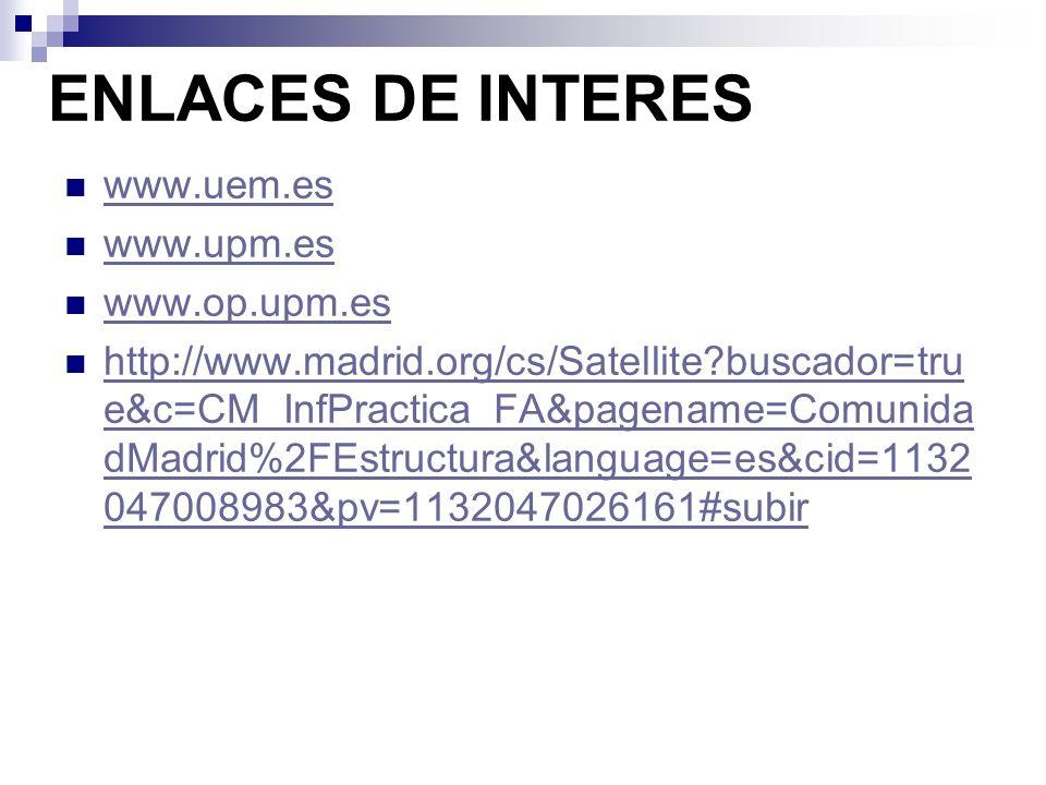 ENLACES DE INTERES www.uem.es www.upm.es www.op.upm.es
