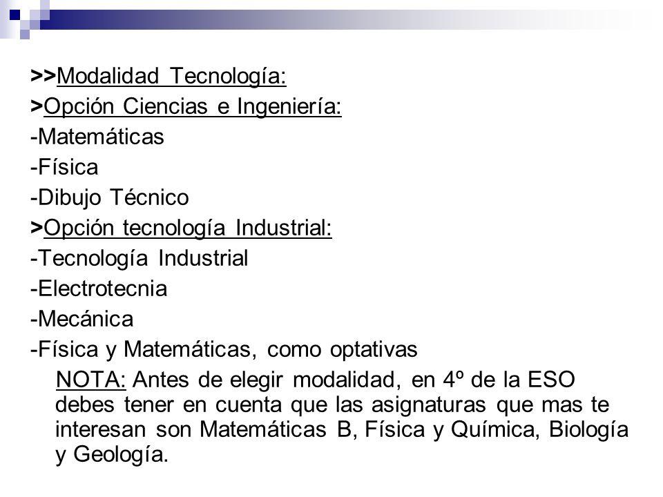 >>Modalidad Tecnología: