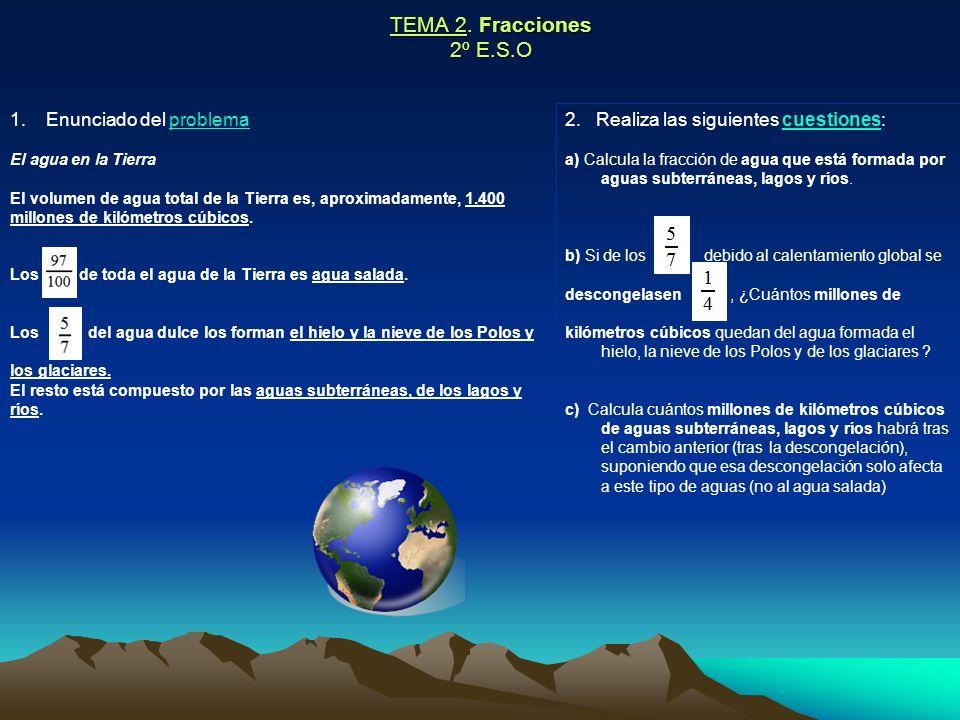 TEMA 2. Fracciones 2º E.S.O Enunciado del problema