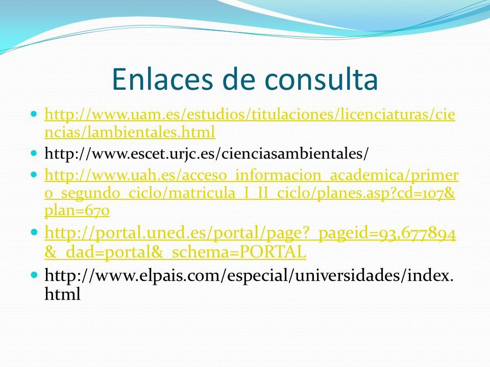Enlaces de consulta http://www.uam.es/estudios/titulaciones/licenciaturas/ciencias/lambientales.html.