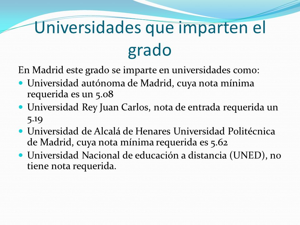 Universidades que imparten el grado