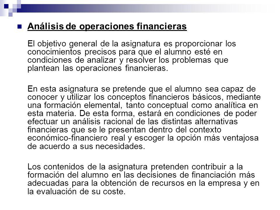 Análisis de operaciones financieras