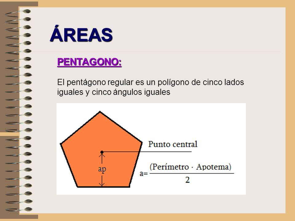 ÁREAS PENTAGONO: El pentágono regular es un polígono de cinco lados iguales y cinco ángulos iguales.