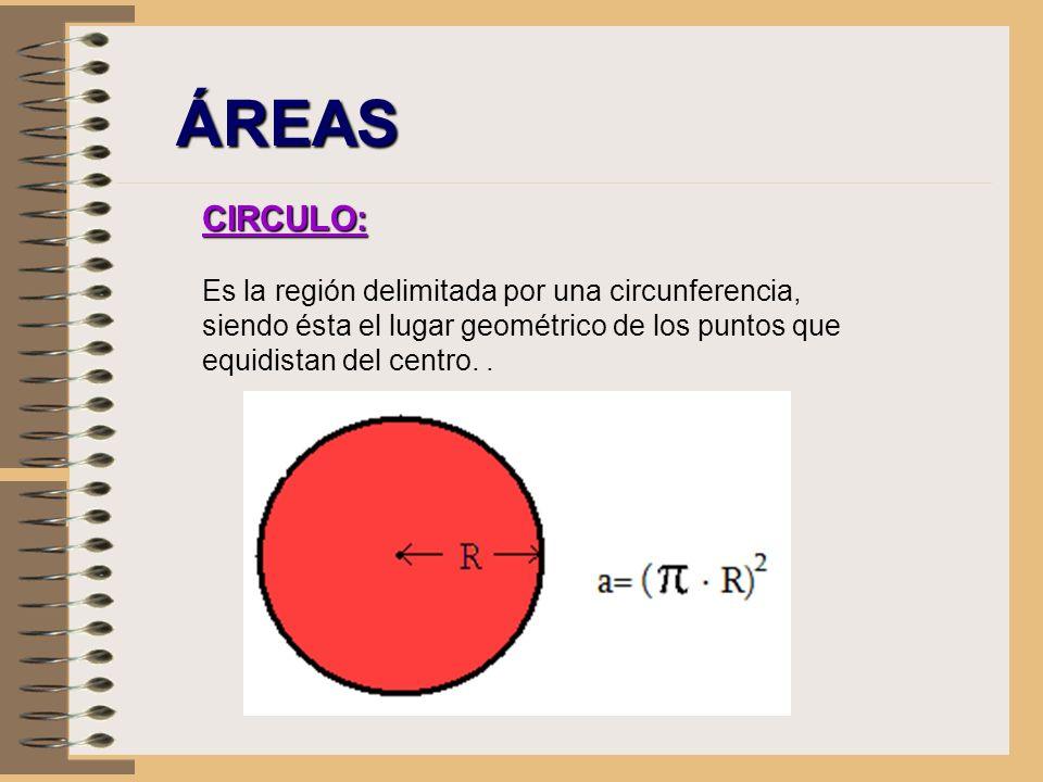 ÁREAS CIRCULO: Es la región delimitada por una circunferencia, siendo ésta el lugar geométrico de los puntos que equidistan del centro. .