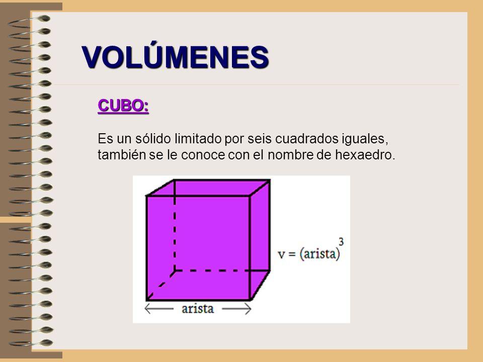 VOLÚMENES CUBO: Es un sólido limitado por seis cuadrados iguales, también se le conoce con el nombre de hexaedro.