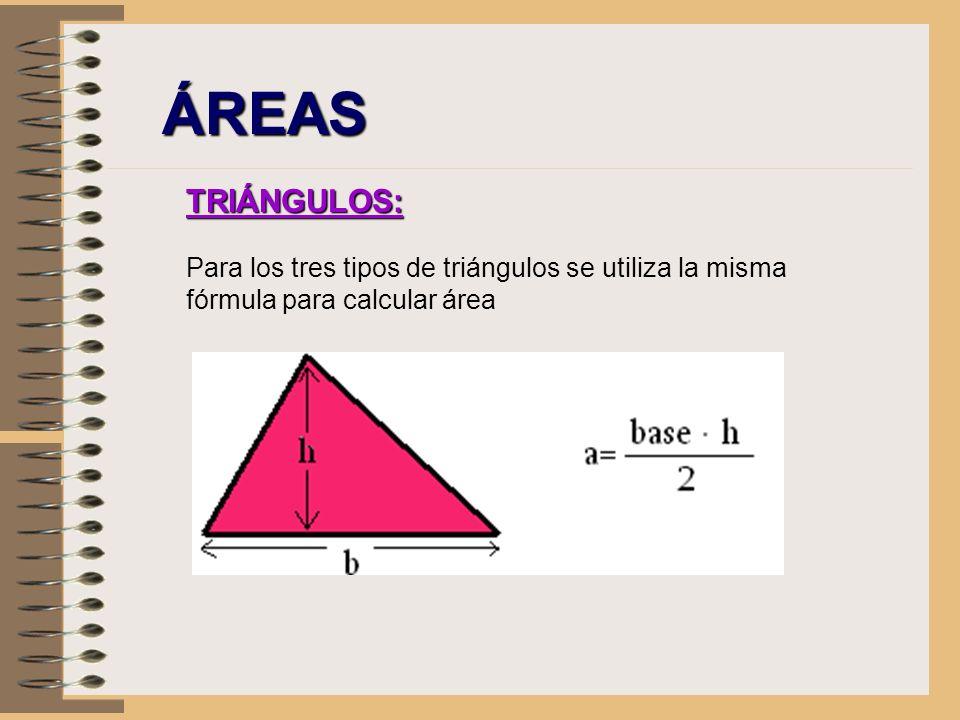 ÁREAS TRIÁNGULOS: Para los tres tipos de triángulos se utiliza la misma fórmula para calcular área.