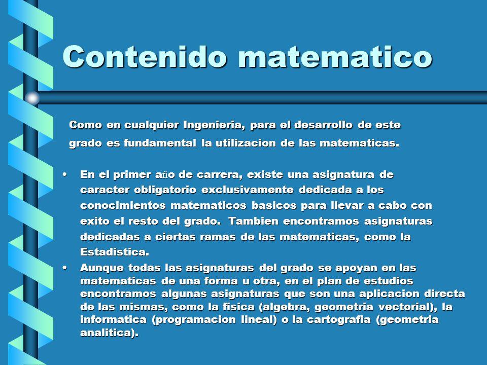 Contenido matematico Como en cualquier Ingenieria, para el desarrollo de este. grado es fundamental la utilizacion de las matematicas.