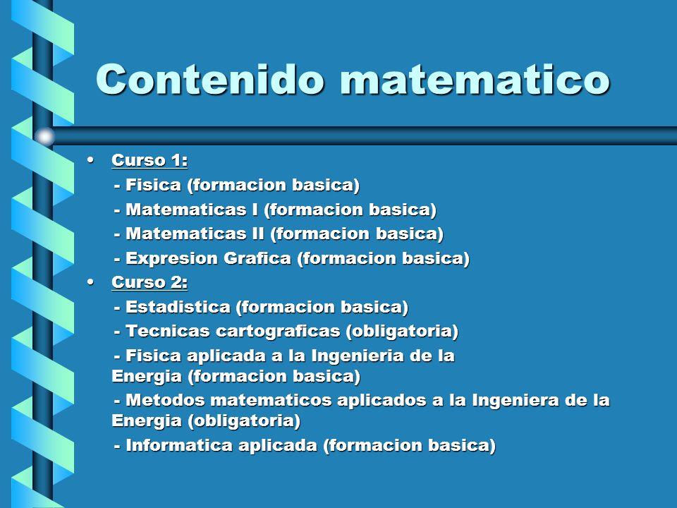 Contenido matematico Curso 1: - Fisica (formacion basica)