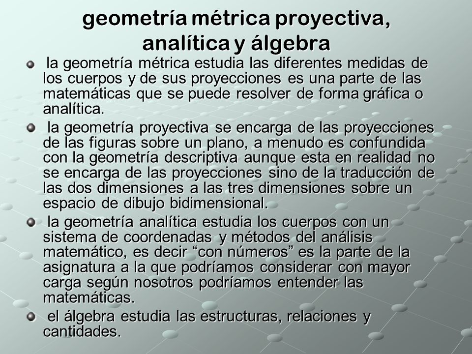 geometría métrica proyectiva, analítica y álgebra