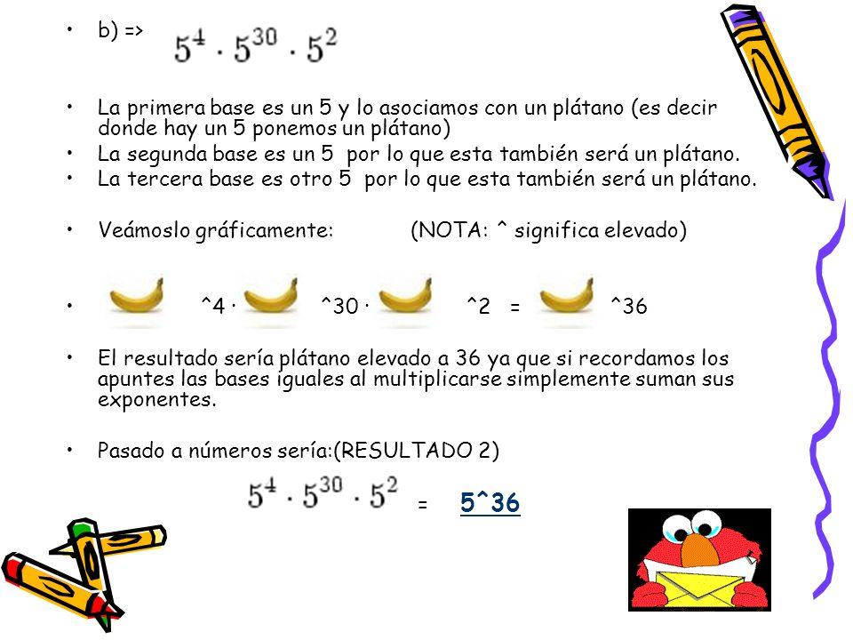 b) => La primera base es un 5 y lo asociamos con un plátano (es decir donde hay un 5 ponemos un plátano)