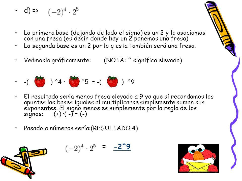d) => La primera base (dejando de lado el signo) es un 2 y lo asociamos con una fresa (es decir donde hay un 2 ponemos una fresa)