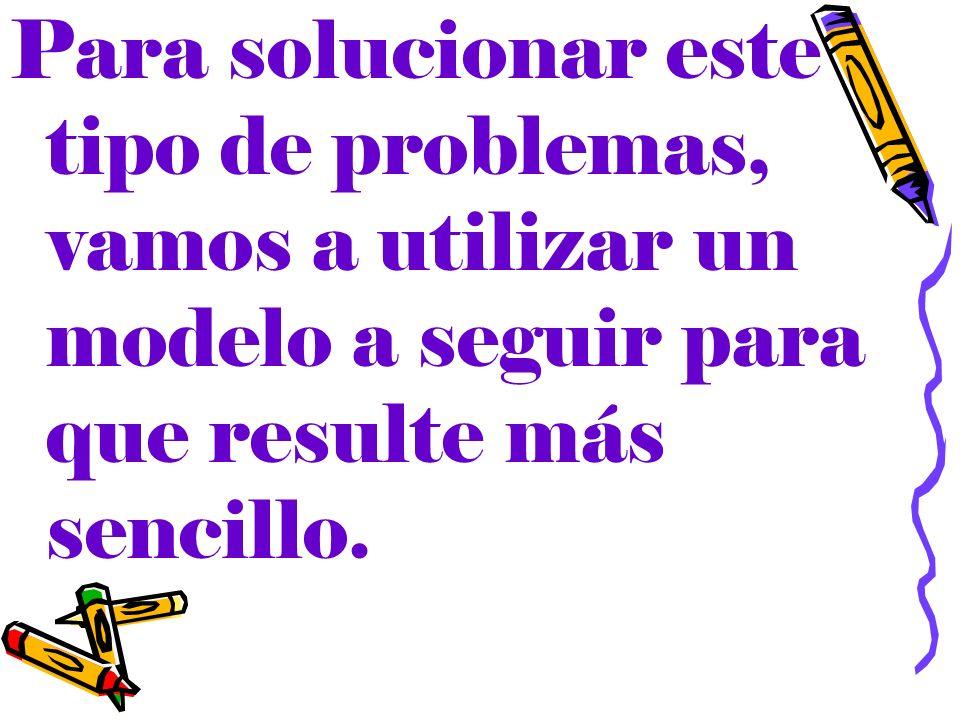 Para solucionar este tipo de problemas, vamos a utilizar un modelo a seguir para que resulte más sencillo.