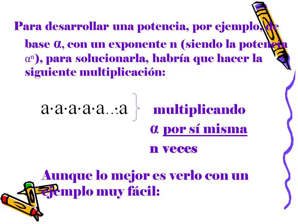 multiplicando α por sí misma n veces