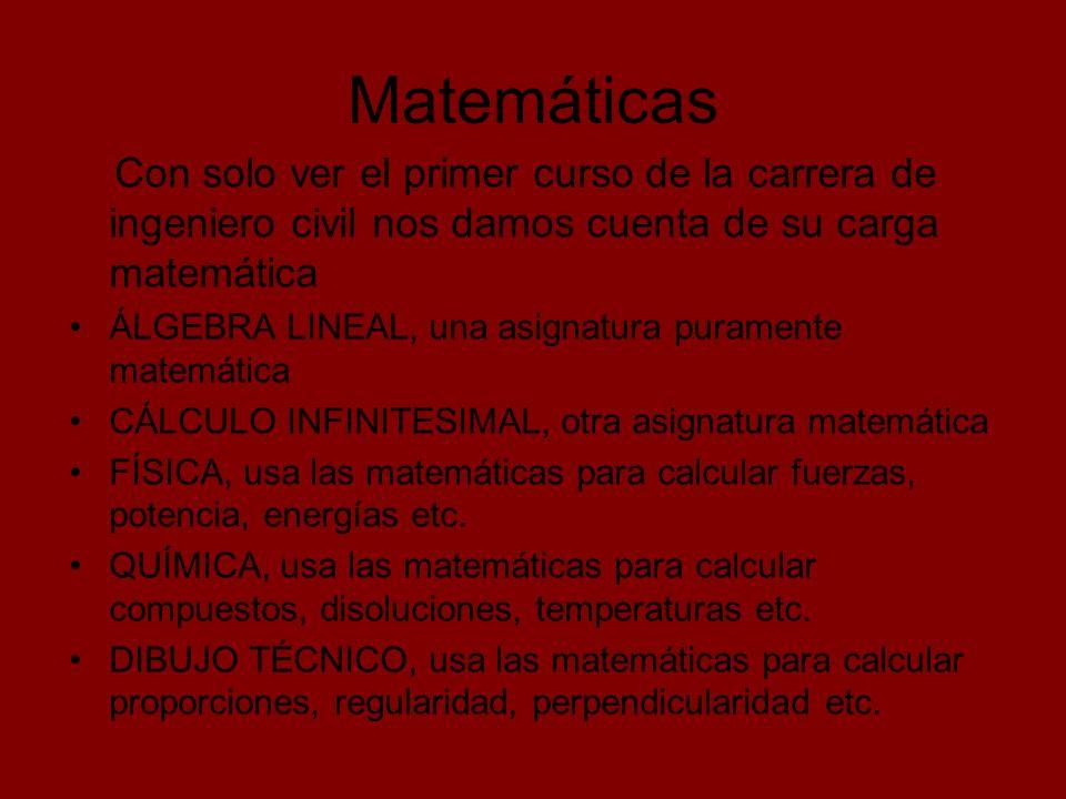 Matemáticas Con solo ver el primer curso de la carrera de ingeniero civil nos damos cuenta de su carga matemática.