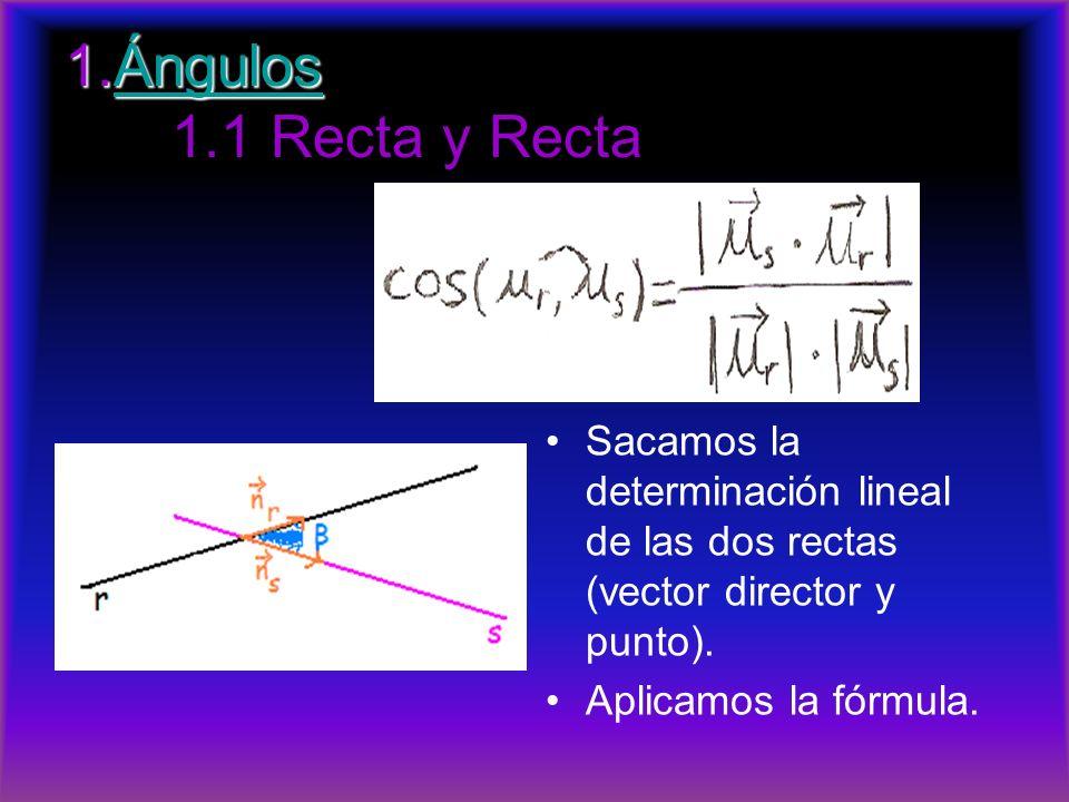 1.Ángulos 1.1 Recta y Recta Sacamos la determinación lineal de las dos rectas (vector director y punto).