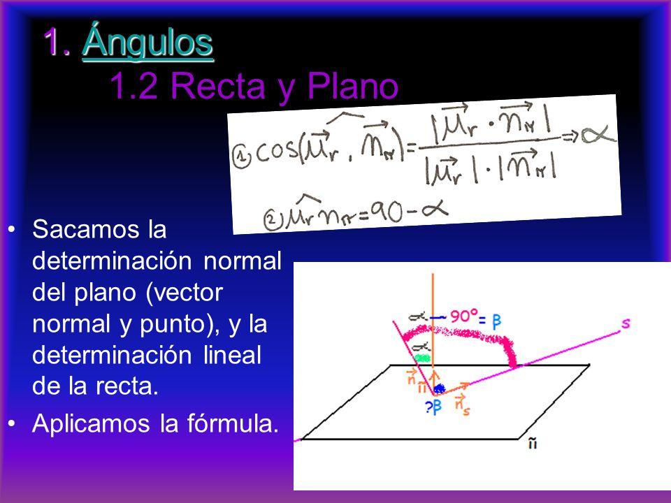 1. Ángulos 1.2 Recta y Plano Sacamos la determinación normal del plano (vector normal y punto), y la determinación lineal de la recta.