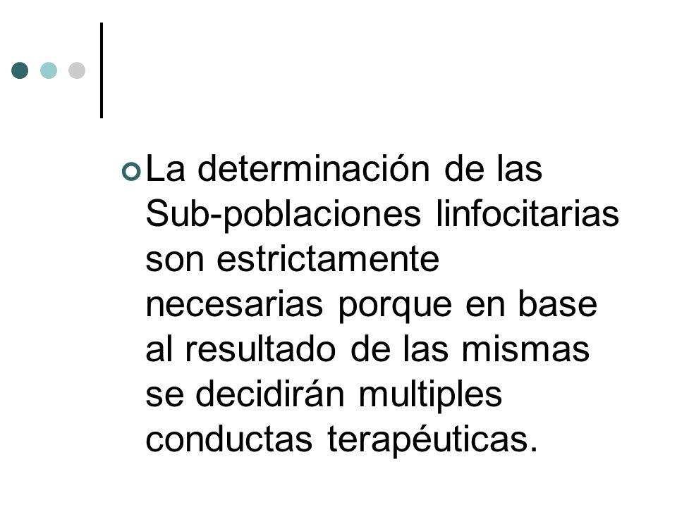 La determinación de las Sub-poblaciones linfocitarias son estrictamente necesarias porque en base al resultado de las mismas se decidirán multiples conductas terapéuticas.