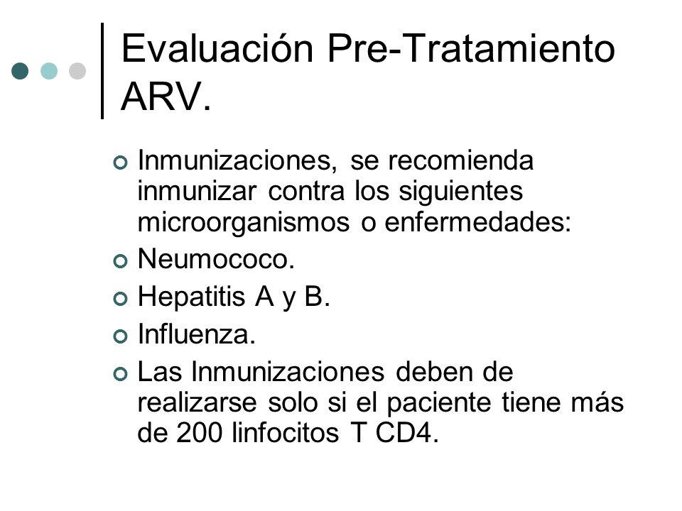 Evaluación Pre-Tratamiento ARV.