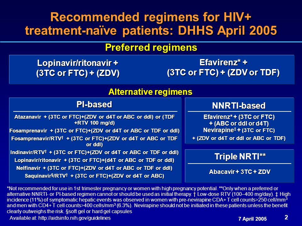 Recommended regimens for HIV+ treatment-naïve patients: DHHS April 2005