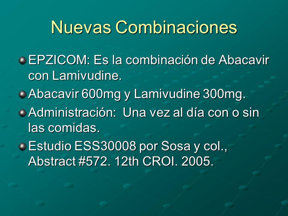Nuevas Combinaciones EPZICOM: Es la combinación de Abacavir con Lamivudine. Abacavir 600mg y Lamivudine 300mg.