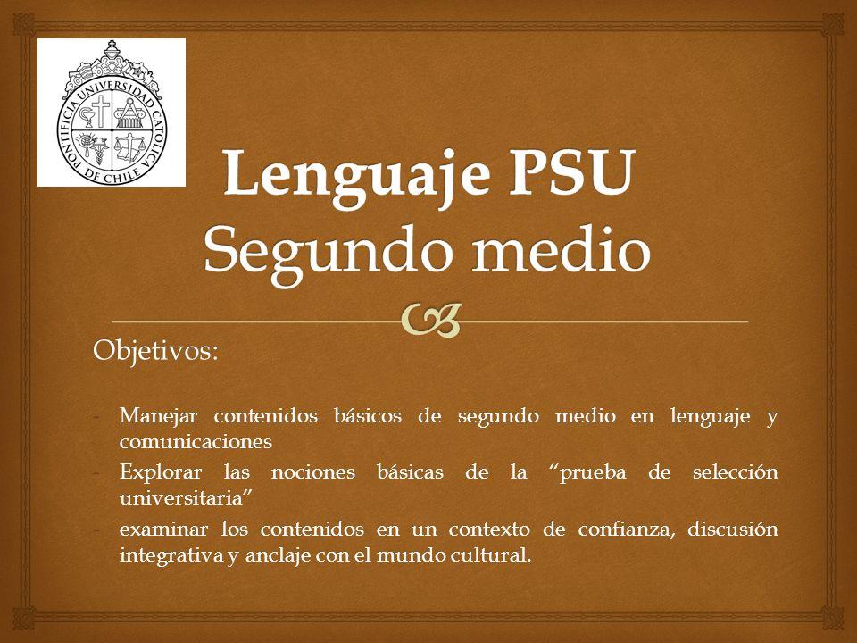 Lenguaje PSU Segundo medio